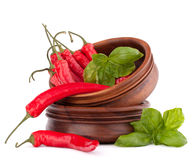 Hot red chili or chilli pepper in wooden bowls stack Royalty Free Stock Photos