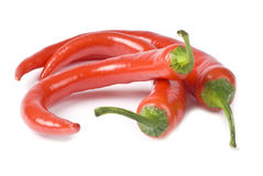Hot Red Chili Peppers Isolated on White Royalty Free Stock Image