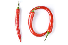 Hot Red Chili Peppers Isolated on White Royalty Free Stock Images