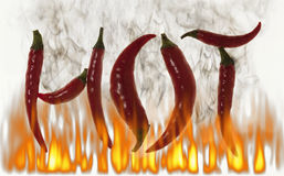 Hot red chili peppers smoking Royalty Free Stock Image
