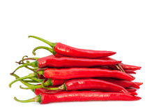 Hot red chili peppers  on white background Royalty Free Stock Image