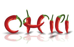 Hot red Chilies with reflection Royalty Free Stock Photos