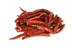 Hot red chilli pepper. Hot red chilli chillies pepper, isolated on white Royalty Free Stock Photography