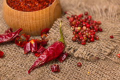 Hot Red Chilli pepper crushed Stock Photos