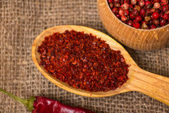 Hot Red Chilli pepper crushed Stock Images