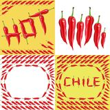 Hot red chilli pepper. Set of four illustrations Royalty Free Stock Photography