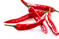Hot red chilli pepper on a white background Stock Photo