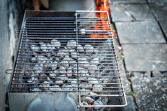 Hot red coal under barbecue grill. Stock Photo