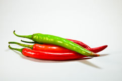Hot red, green chili peppers Stock Photography