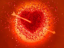 Hot red Heart pierced with an arrow Royalty Free Stock Image