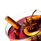 Hot red mulled wine for Christmas  and winter with orange slice, Royalty Free Stock Image