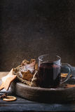 Hot red mulled wine with cookies Stock Photo