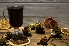 Mulled wine with dried slices of orange. Christmas background. stock images