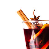 Hot red mulled wine isolated on white background with christmas Stock Image
