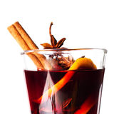 Hot red mulled wine isolated on white background with christmas Stock Images