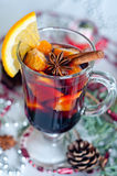 Hot red mulled wine isolated on white background Stock Images