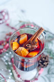 Hot red mulled wine isolated on white background Royalty Free Stock Image