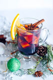 Hot red mulled wine isolated on white background Stock Photos