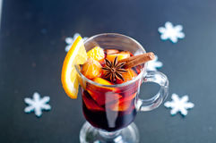 Hot red mulled wine  on white background Royalty Free Stock Image