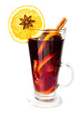 Hot red mulled wine for winter and Christmas with orange slice, Royalty Free Stock Images