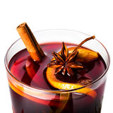 Hot red mulled wine for winter and Christmas with orange slice, stock photos