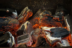 Hot Red, Orange and Black Burning Wood Charcoal Coal for BBQ Stock Images