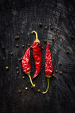 Hot red pepper and black pepper Royalty Free Stock Photography