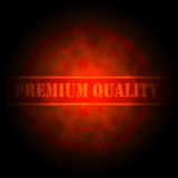 Hot Red Premium Quality Stamp. Premium quality stamp in  hot glowing red on black  background Stock Photography