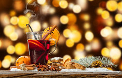Hot red wine drink on wooden table stock photos