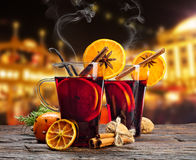 Hot red wine drinks on wooden table Stock Photography