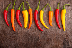 Hot red, yellow, orange peppers Royalty Free Stock Photo