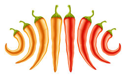 Hot red and yellow peppers Stock Photography