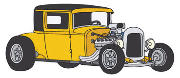 Hot-rod. Hand drawing of a yellow hot-rod Royalty Free Stock Photo