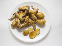 Hot roasted chicken and potato Stock Photography