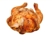Hot roasted chicken on white Royalty Free Stock Photos