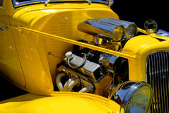 Hot Rod. Yellow Hot Rod with chrome motor Royalty Free Stock Photos