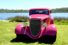 Hot Rod. Pink Hot Rod with  Lake background Stock Photos