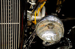 Hot Rod. Black hot rod with chrome trim and headlamp Royalty Free Stock Image