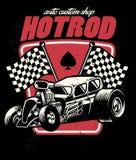 Hot rod auto custom shop badge Royalty Free Stock Image
