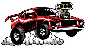 Hot rod auto custom shop badge Royalty Free Stock Images