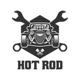 Hot Rod-Autologo, HotRod-Vektoremblem, Vektor-Hot Rod-Autologo Lizenzfreie Stockfotos