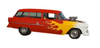Hot rod car with flaming paint Royalty Free Stock Image
