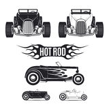 Hot rod car tamplates for icons and emblems isolated on white background. Stock Photography