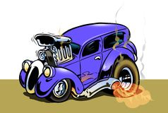 Hot Rod. Cartoon style with big engine and hot tyres Royalty Free Stock Photo
