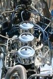 Hot Rod Chrome Engine Block. A highly polished chrome hot rod engine block closeup Royalty Free Stock Image