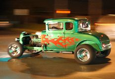 Hot Rod Cruising at Night Stock Photo