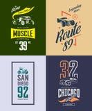 Hot rod de vintage, voiture classique et ensemble de logo de T-shirt de vecteur d'isolement par moto Images stock