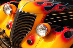 Hot Rod Flames. A beautifully done Flame paint / design job done on a custom Hot Rod Royalty Free Stock Photo
