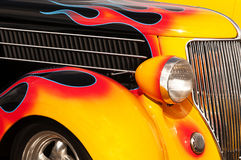 Hot Rod Flames and Chrome. Chrome and flame details on a vintage Hot Rod Stock Image