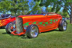 Hot Rod with flames Done in HDR Royalty Free Stock Photo